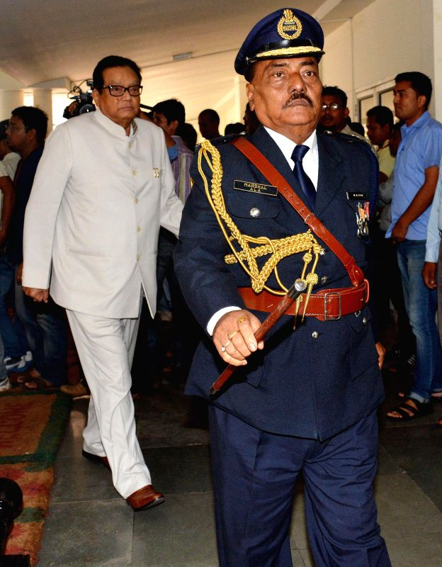 Assam Legislative Assembly speaker Pranab Kumar Gogoi arrives to preside over the budget session of the assembly at Dispur in Guwahati on Aug 4, 2014. - Pranab Kumar Gogoi