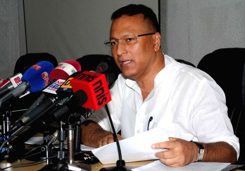 Assam Power Minister Pradyut Bordoloi addresses a press conference at Dispur in Guwahati on July 28, 2014. - Pradyut Bordoloi