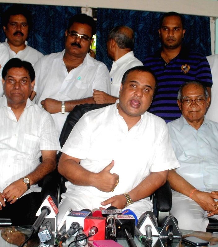 Assam's rebel minister and Congress leader Himanta Biswa Sarma who resigned from the the state cabinet addresses a press conference in Guwahati on July 21, 2014. Sarma, who was holding the portfolio .
