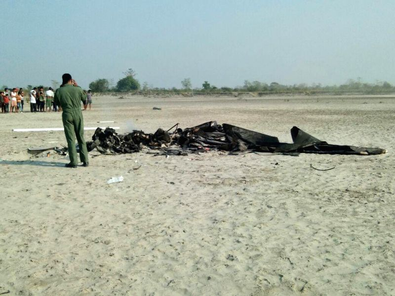 :Assam: The debris of an IAF helicopter that crashed at Horchapori in Majuli, Assam on Feb 15, 2018. .