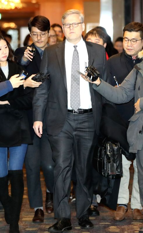 Assistant U.S. Trade Representative Michael Beeman arrives at Lotte Hotel in Seoul on Jan. 31, 2018, to attend the second round of talks on the amendment of the free trade deal between South ...
