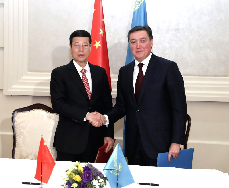 ASTANA, April 19, 2017 - Chinese Vice Premier Zhang Gaoli shakes hands with Kazakhstan First Deputy Prime Minister Askar Mamin after the eighth meeting of China-Kazakhstan Cooperation Committee in ... - Askar Mamin