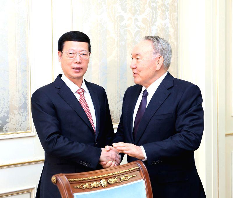 ASTANA, April 19, 2017 - Chinese Vice Premier Zhang Gaoli meets with Kazakh President Nursultan Nazarbayev in Astana, Kazakhstan, April 18, 2017.