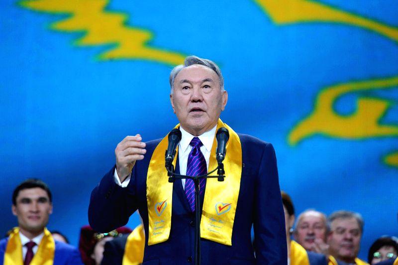 Kazakhstan's President Nursultan Nazarbayev speaks to his supporters in Astana, Kazakhstan, April 27, 2015. Preliminary results announced by Kazakhstan's Central ...