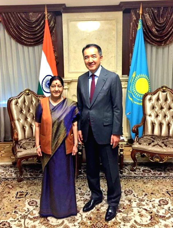 : Astana: External Affairs Minister Sushma Swaraj meets Kazakhstan Prime Minister Bakytzhan Sagintayev, in Astana, Kazakhstan, on  Aug 3, 2018 (Photo: IANS/MEA).