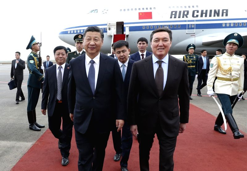 ASTANA, June 7, 2017 - Chinese President Xi Jinping (L front) is welcomed by Kazakhstan First Deputy Prime Minister Askar Mamin upon his arrival in Astana, Kazakhstan, June 7, 2017. Chinese President ... - Askar Mamin