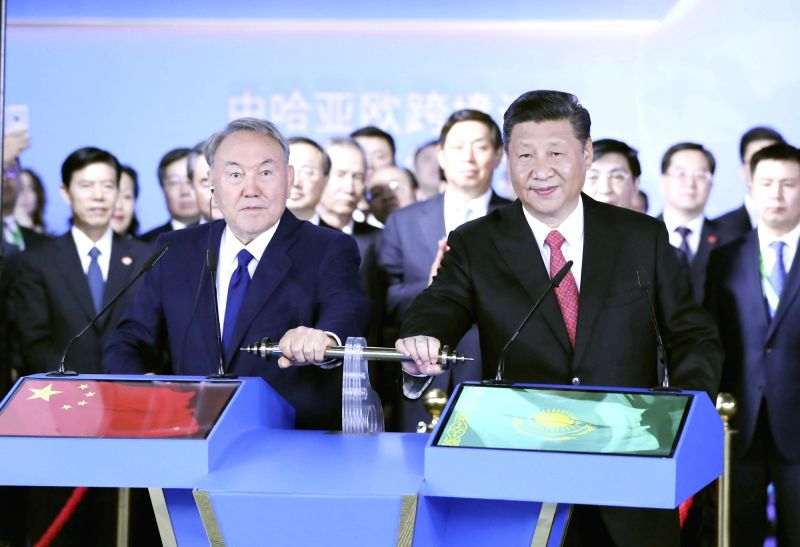 ASTANA, June 8, 2017 - Chinese President Xi Jinping (R front) and his Kazakh counterpart Nursultan Nazarbayev (L front) inspect via videolink two key hubs of the cross-border transportation at the ...