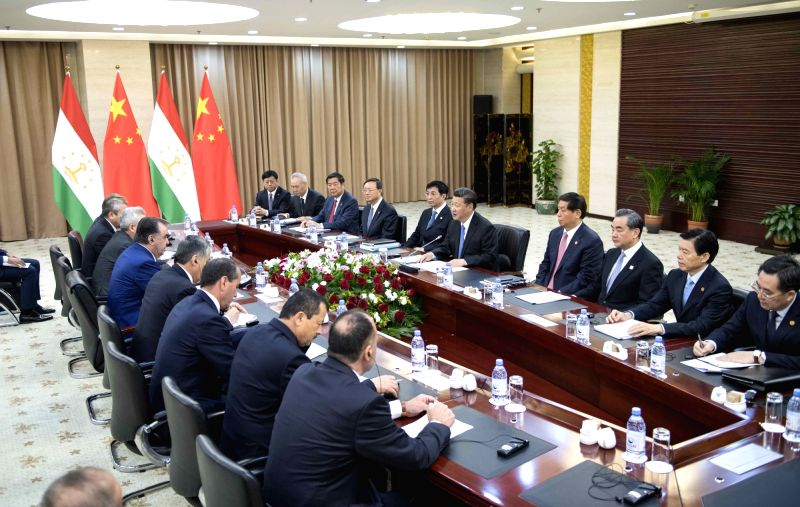 ASTANA, June 9, 2017 - Chinese President Xi Jinping (5th R) meets with Tajik President Emomali Rahmon in Astana, Kazakhstan, June 9, 2017.