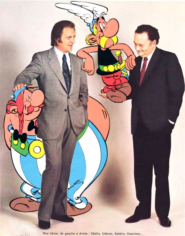 Asterix co-creators - artist Albert Uderzo (left) and writer Rene Goscinny (right) with their famous characters - Albert Uderzo