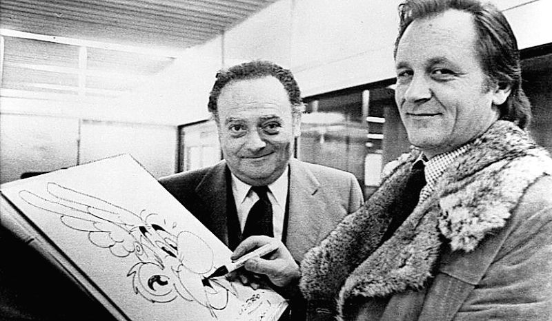 Asterix co-creators - writer Rene Goscinny (left) and artist Albert Uderzo (right) with their famous character - Albert Uderzo