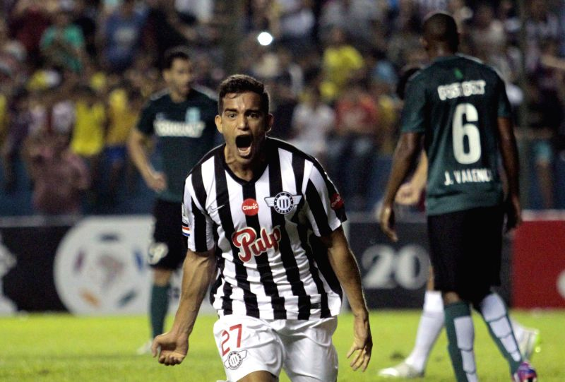 Libertad's Jorge Gonzalez of Paraguay celebrates after scoring during the match of Libertadores Cup, against Atletico Nacional's Colombia, at Nicolas Leoz Stadium, ...