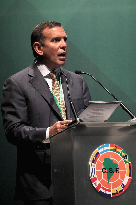 President of the South American Football Confederation (CONMEBOL) Juan Angel Napout delivers a speech during the 65th Ordinary Congress of the South American ...
