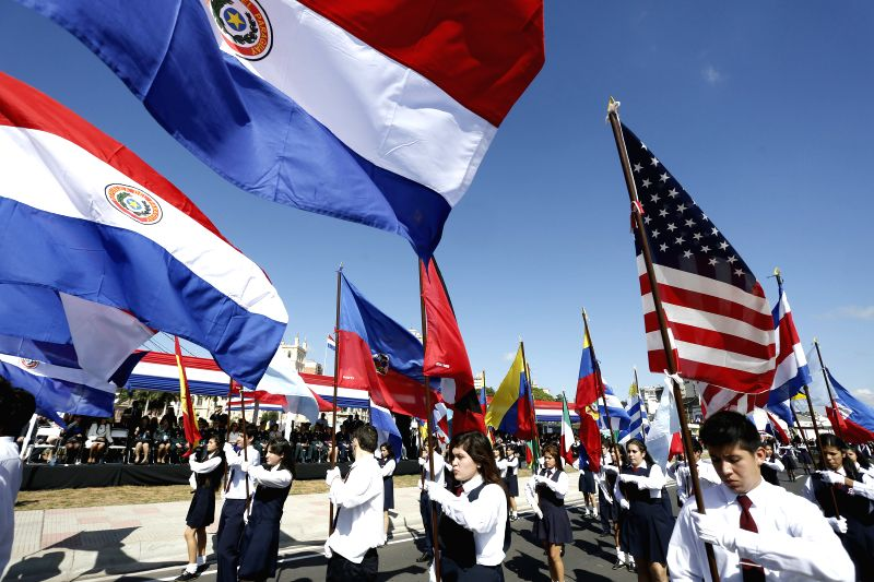 Students participate in the Independence Day parade in Asuncion, capital of Paraguay, May 14, 2014. Paraguay declared independence in may 1811.