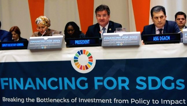 At the high-level event on Financing for Sustainable Development Goals (SDGs) at the United Nations on Monday, June 11, 2018, are Deputy Secretary-General Amina Mohammed, General Assembly President ...