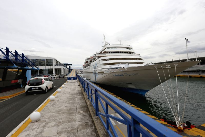 ATHENS, April 22, 2017 - The Celestyal Olympia docks at Piraeus, Greece, on April 21, 2017. The first cruise ship carrying a group of Chinese tourists to the Aegean Sea islands set sail from Greece's ...
