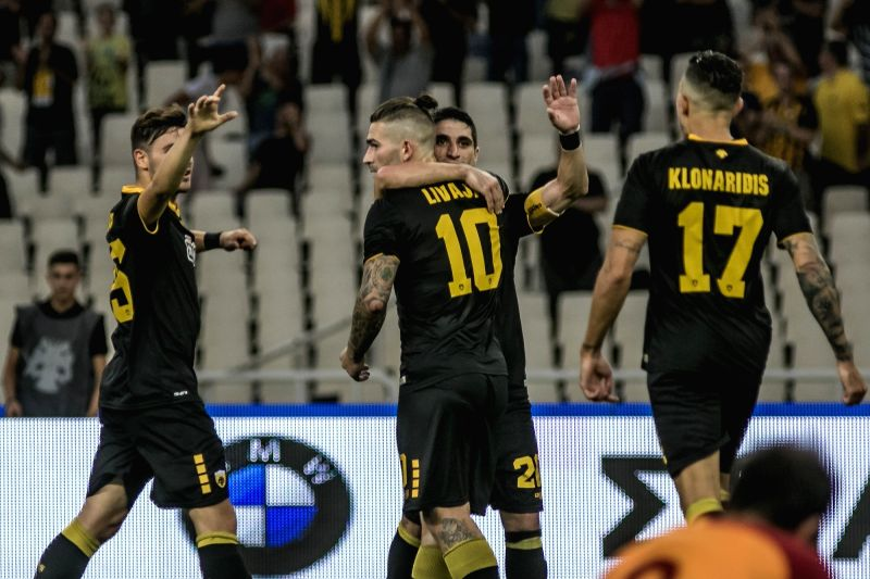 ATHENS, Aug. 1, 2018 - AEK Athens' Marko Livaja (C) celebrates with his teammates after scoring during the friendly soccer match between AEK Athens and Galatasaray held at OAKA Spiros Louis Stadium ...