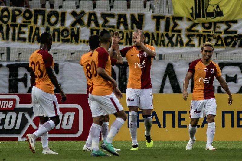 ATHENS, Aug. 1, 2018 - Glatasaray's Maicon (C) celebrates with his teammates after scoring against AEK Athens during the friendly soccer match at OAKA Spiros Louis Stadium in Athens, Greece, July 31, ...