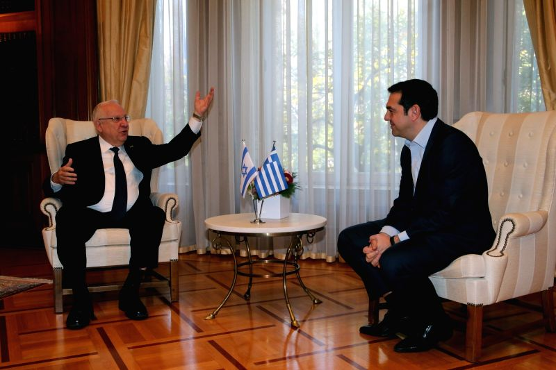 ATHENS, Jan. 29, 2018 - Greek Prime Minister Alexis Tsipras (R) talks with Israeli President Reuven Rivlin at the Maximos Mansion in Athens, Greece, on Jan. 29, 2018. Greek leaders and Israeli ... - Alexis Tsipras