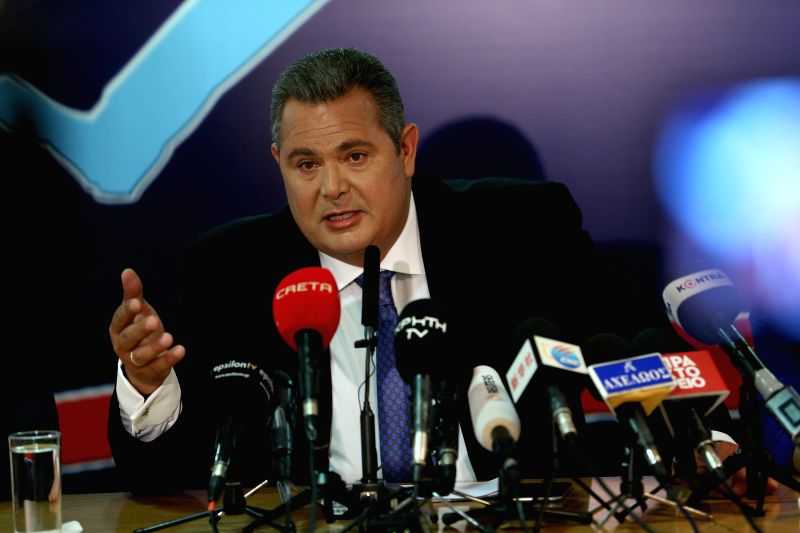 ATHENS, June 12, 2018 - Greek Defense Minister Panos Kammenos attends a press conference in Athens, Greece, June 12, 2018. Greek Defense Minister Panos Kammenos voiced doubt on Tuesday whether an ... - Panos Kammenos