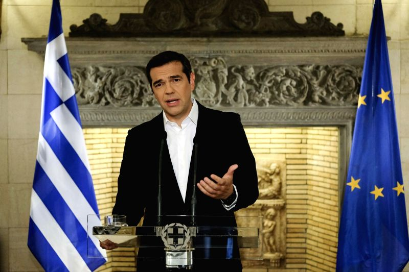 ATHENS, June 12, 2018 - Greek Prime Minister Alexis Tsipras delivers a televised address to announce that Athens and Skopje have reached a historic agreement on their name row, in Athens, Greece, ... - Alexis Tsipras