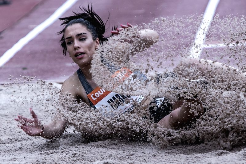 ATHENS, June 14, 2018 - Christiana Markou of Greece competes in Long Jump at the Filothei Women Gala in Athens, Greece, June 13, 2018.