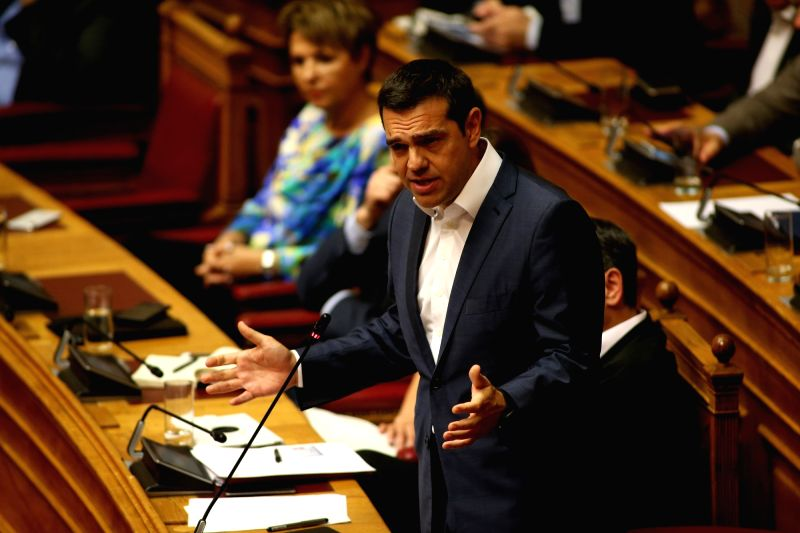 ATHENS, June 14, 2018 - Greek Prime Minister Alexis Tsipras speaks at a parliamentary session, in Athens, Greece, on June 14, 2018. Greece's government passed on Thursday the last set of measures ... - Alexis Tsipras