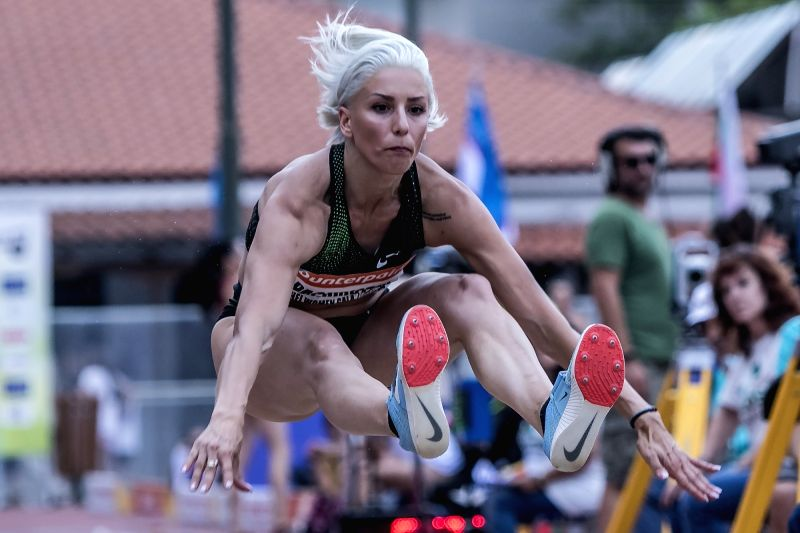 ATHENS, June 14, 2018 - Paraskevi Papachristou of Greece competes in Long Jump at the Filothei Women Gala in Athens, Greece, June 13, 2018.