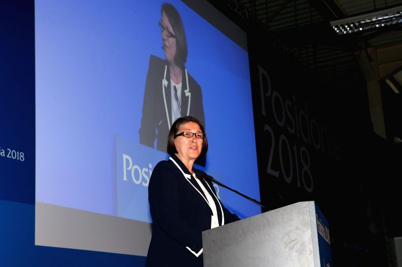 ATHENS, June 4, 2018 - European Commissioner for Transport Violeta Bulc speaks during the opening ceremony of the International Shipping Exhibition of Posidonia in Athens, Greece, on June 4, 2018. ... - Alexis Tsipras