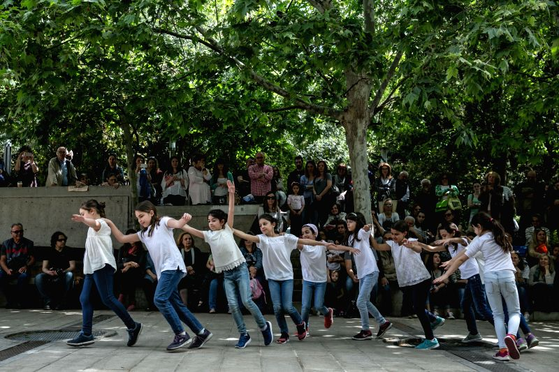 ATHENS, May 1, 2017 - Children dance to celebrate International Dance Day at Kolonaki central square in Athens, Greece, April 29, 2017. Hundreds of dance lovers of all ages gathered in several main ...