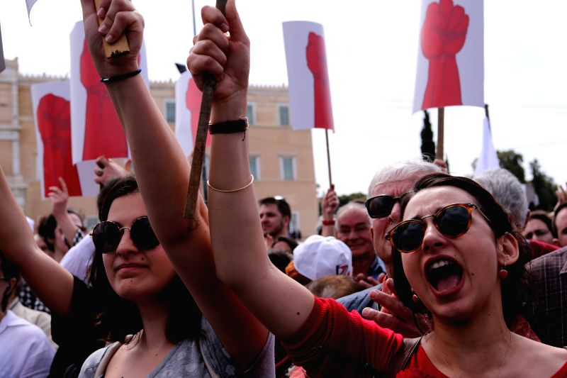 ATHENS, May 1, 2017 - Greek unionists take part in a rally marking the International Labor Day in Athens, capital of Greece, on May 1, 2017. Approximately 10,000 strikers marched in central Athens ...