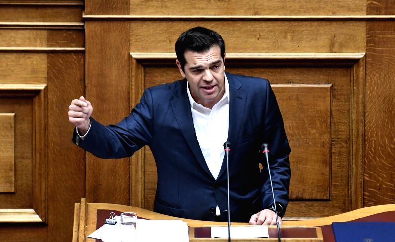 ATHENS, May 19, 2017 - Greek Prime Minister Alexis Tsipras addresses parliament shortly before the vote for an austerity bill in Athens May 18, 2017. Greek parliament on Thursday approved an ... - Alexis Tsipras