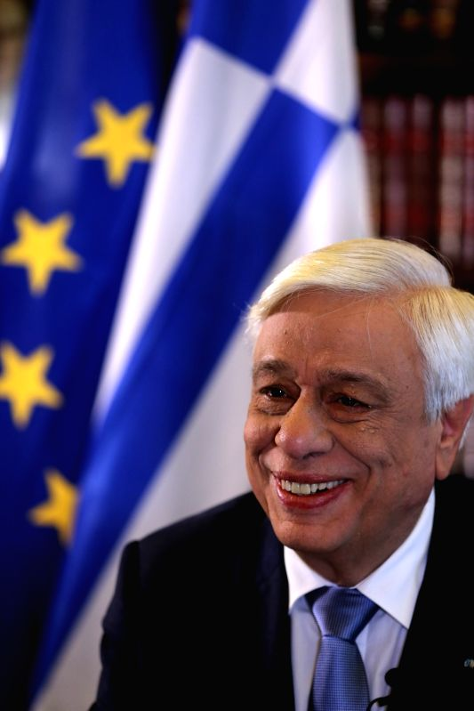 ATHENS, May 21, 2017 - Greek President Prokopis Pavlopoulos speaks in an exclusive statement with Xinhua News Agency in Athens on May 20, 2017. Greek President Prokopis Pavlopoulos has congratulated ...
