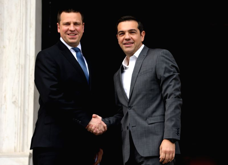 ATHENS, May 29, 2017 - Greek Prime Minister Alexis Tsipras (R) shakes hands with his Estonian counterpart Juri Ratas in Athens, Greece, on May 29, 2017. Greek Prime Minister Alexis Tsipras welcomed ... - Alexis Tsipras