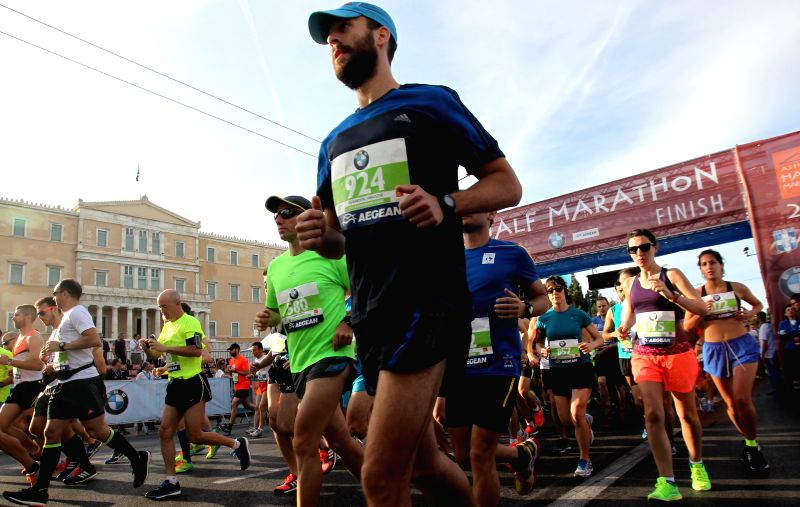 Competitors participate in the Athens Half Marathon, in Athens, Greece, May 3, 2015.