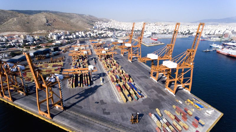 ATHENS, May 5, 2017 - Photo taken on May 3, 2017 shows the Pireaus Port's container terminal in Greece. (Xinhua/Panos Tomadakis)