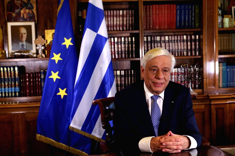 ATHENS, May 8, 2017 - Greek President Prokopis Pavlopoulos is seen at office in Athens, Greece, May 6, 2017. Prokopis Pavlopoulos extended best wishes for success to the upcoming Belt and Road Forum ...