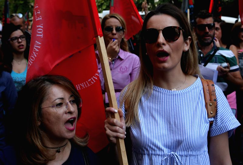 ATHENS, Oct. 6 Greek state hospital nurses participate during a 24-hour strike and demonstration against a bill regarding their working conditions in Athens, Greece, on Oct. 6, 2017. The ...