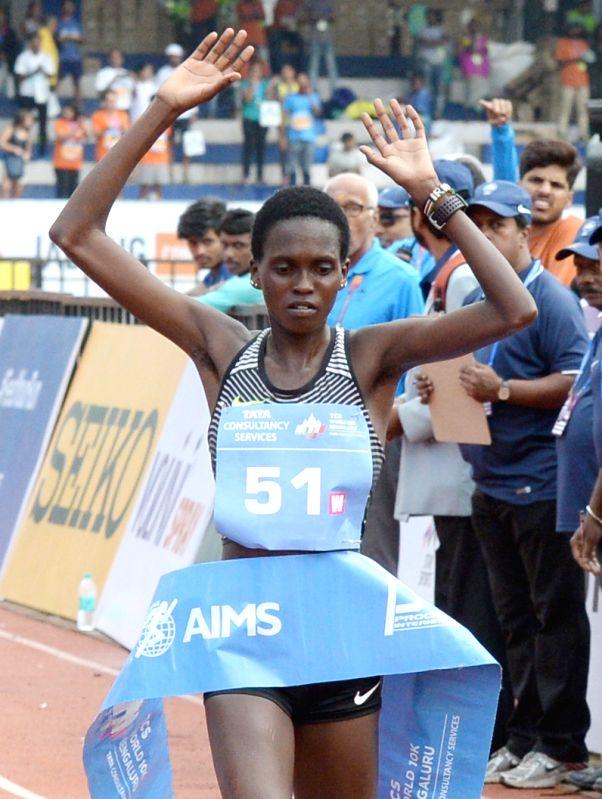 Athlete Irene Chepet Cheptai wins TCS World 10K 2017 (Women  International) in Bengaluru on May 21, 2017.