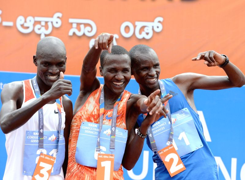 Athletes Alex Korio (winner), Edwin Kiptoo (first runner up) and Stephen Kissa (Second Runner up) during TCS World 10K 2017 in Bengaluru on May 21, 2017.
