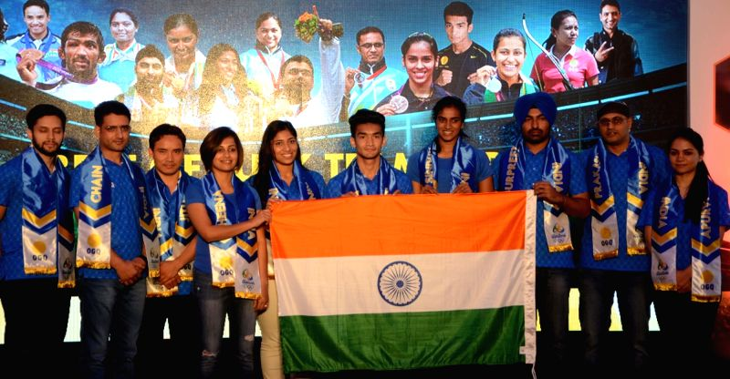 Athletes Heena Sidhu, Jitu Rai, Shiva Thapa, Parupalli Kashyap and PV Sindhu during a press conference organised before the departure of Indian contingent for the Rio Olympics in Mumbai on ... - Jitu Rai and Parupalli Kashyap
