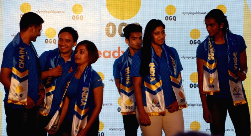 Athletes Heena Sidhu, Jitu Rai, Shiva Thapa, and PV Sindhu during a press conference organised before the departure of Indian contingent for the Rio Olympics in Mumbai on May 30, 2016. - Jitu Rai