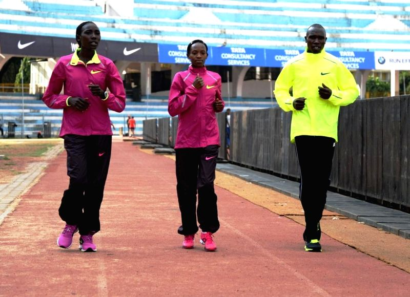 Athletes Linet Masai, Lucy Kabuu and Geoffrey Kipsang Kamworor during TCS World 10K Meet & Greet Session in Bangalore on May 15, 2014.