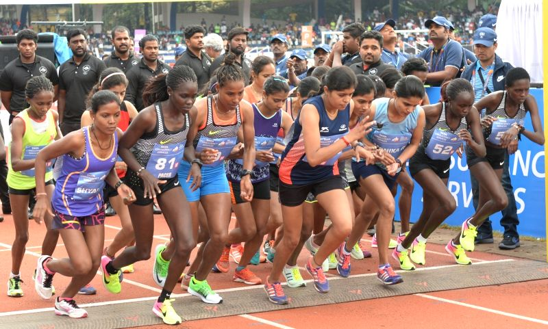 Athletes participate in TCS World 10K 2017 in Bengaluru on May 21, 2017.