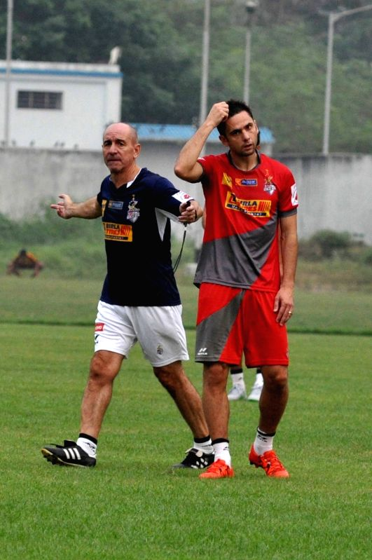Atletico de Kolkata coach Antonio Lopez Habas during a practice session in Kolkata on Nov. 16, 2015.
