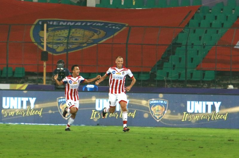 Atletico de Kolkata FC players celebrate after scoring a goal during an Indian Super League (ISL) match between Chennaiyin FC and Atletico de Kolkata FC at Jawaharlal Nehru Stadium in ...