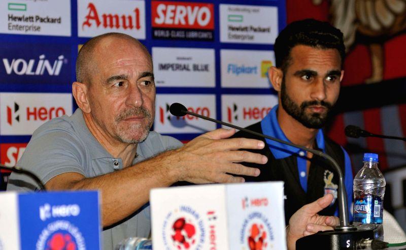 Atletico de Kolkata Head Coach Antonio Habas addresses a pre-match press conference in Kolkata on Nov 26, 2015.