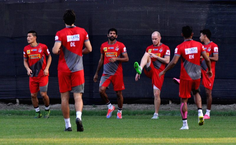 Atletico de Kolkata players during a practice session in Kolkata, on Nov 21, 2015.