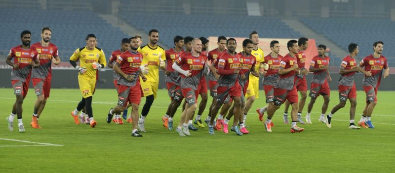 Atletico de Kolkata players in action during a practice session at Jawaharlal Nehru Stadium in New Delhi, on Nov 13, 2015.