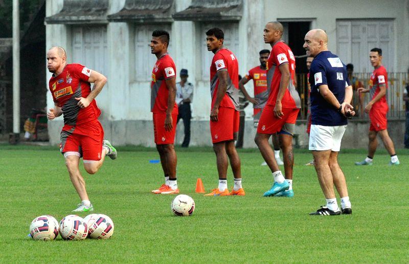 Atletico de Kolkata team during a practice session in Kolkata, on Dec 8, 2015.