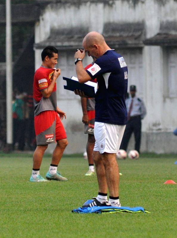 Atletico de Kolkata team during a practice session in Kolkata, on Dec 9, 2015.